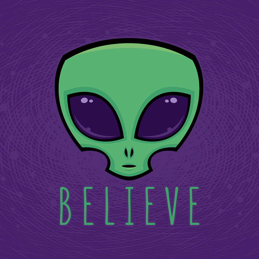 Believe Alien Head Digital Art