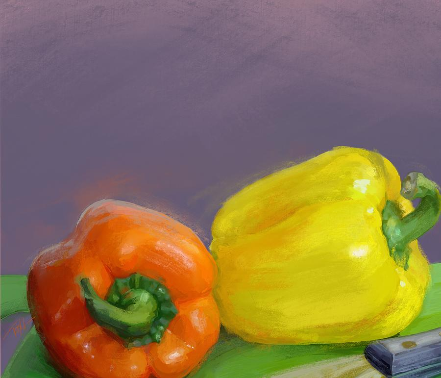 Bell Peppers Mixed Media