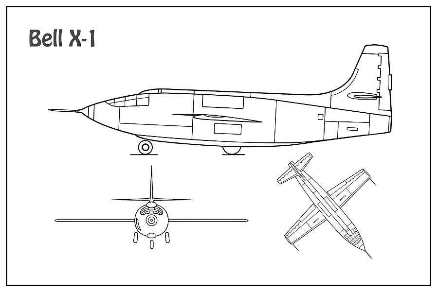 bell x 1 airplane blueprint drawing plans or schematics with engineering design bell x 1 airplane blueprint drawing plans or schematics with design outline for the bell x 1