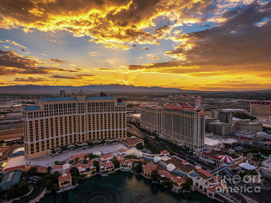 Bellagio And Caesars Las Vegas Sunset Photograph