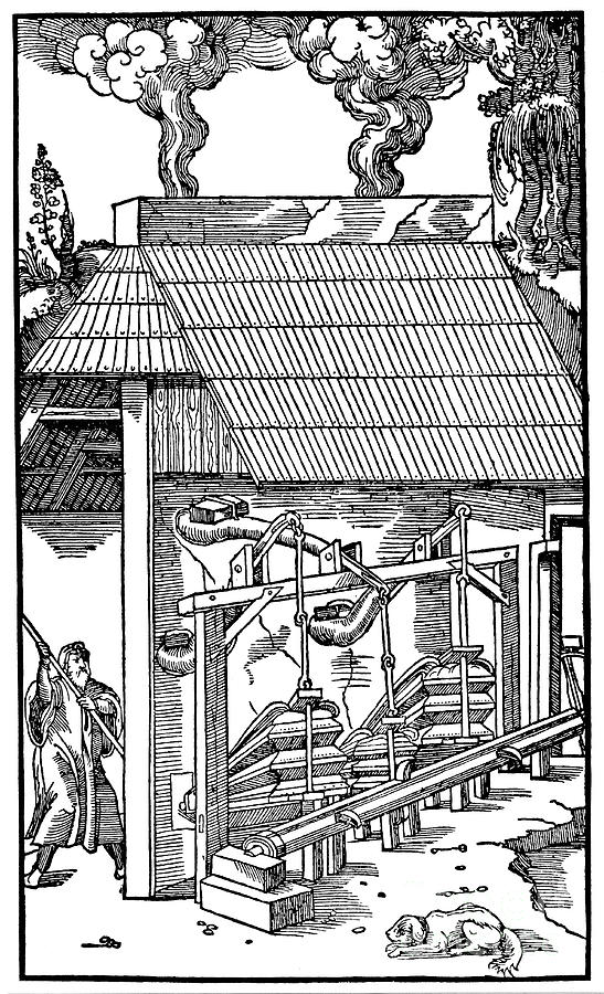 Bellows Supplying Draught To A Smelting Drawing by Print Collector