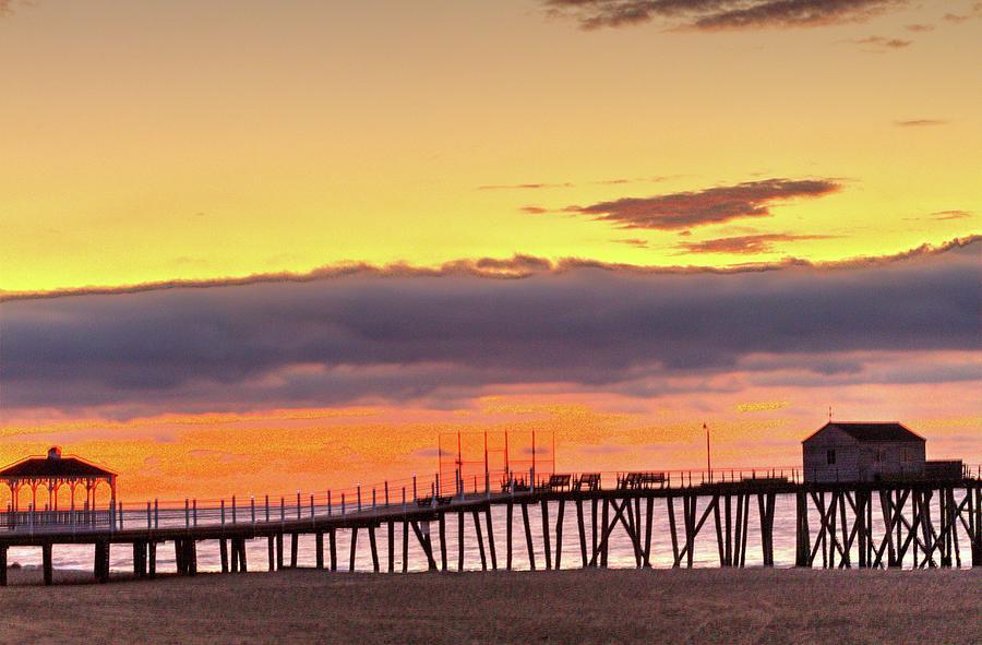 Belmar Sunrise And Pier With Gazebo Photograph