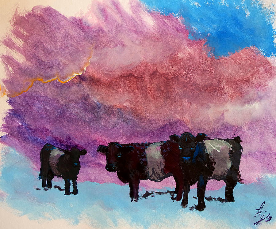 Belted galloway cows purple cloudy sky painting by Mike Jory