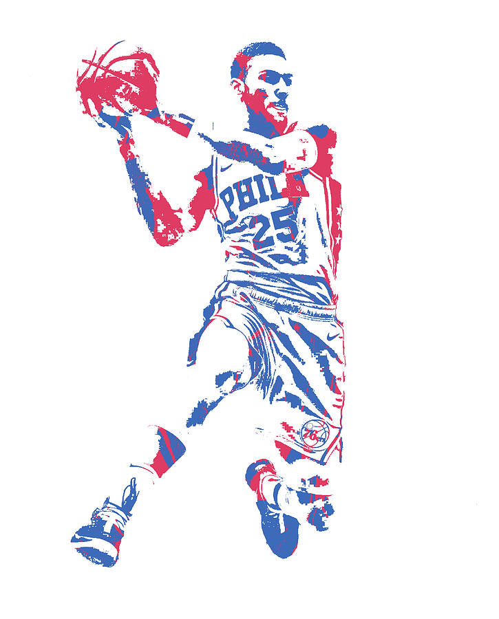 29efff19444 76ers Mixed Media - Ben Simmons Philadelphia 76ers Pixel Art 150 by Joe  Hamilton