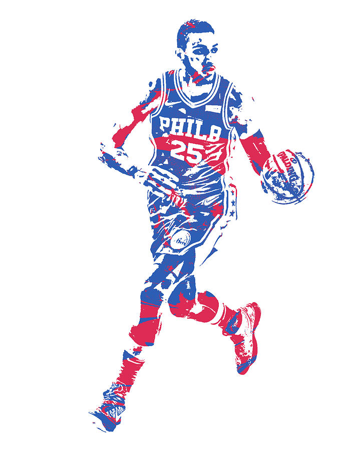 6615f323274 76ers Mixed Media - Ben Simmons Philadelphia 76ers Pixel Art 50 by Joe  Hamilton