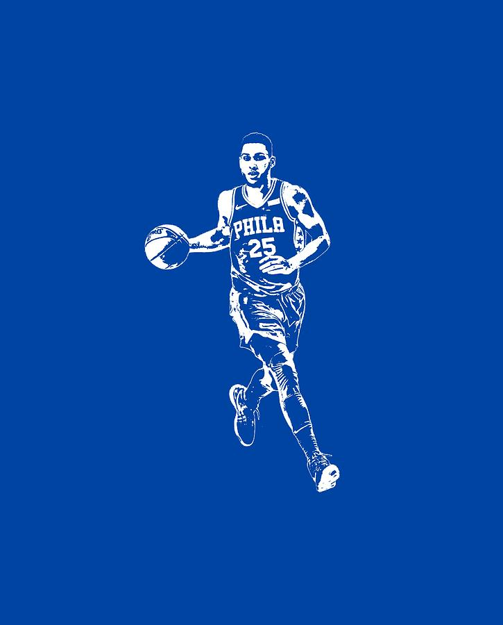 acc61381418 76ers Mixed Media - Ben Simmons Philadelphia 76ers T Shirt Apparel Pixel  Art 3 by Joe