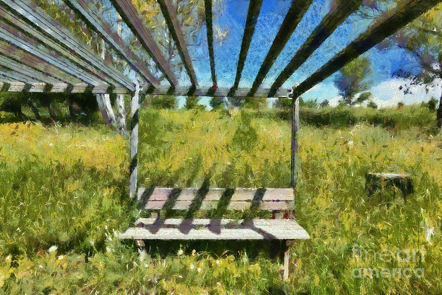 Bench and flowers II by George Atsametakis