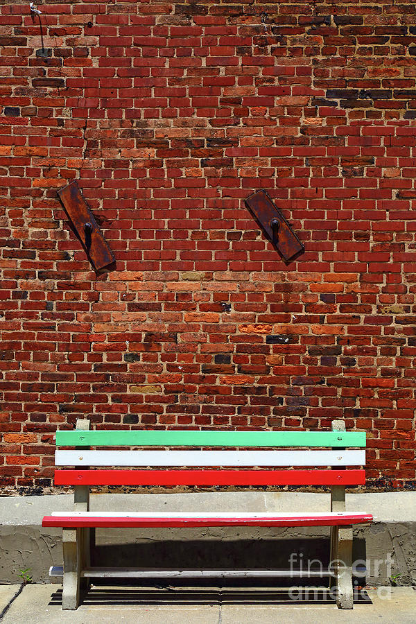 Bench in Colours of Italian Flag Little Italy Baltimore by James Brunker