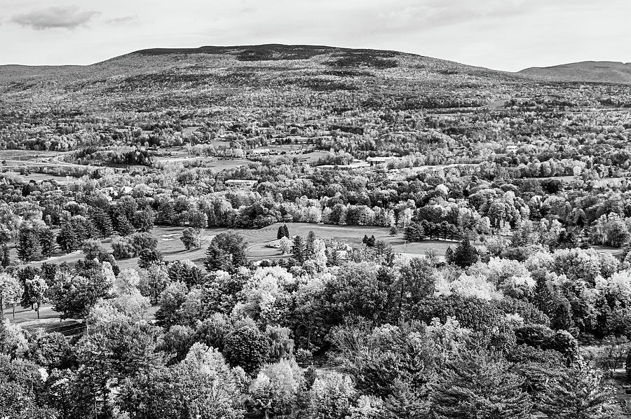 Bennington VT Fall Foliage from the Battle Monument Trees Black and White by Toby McGuire