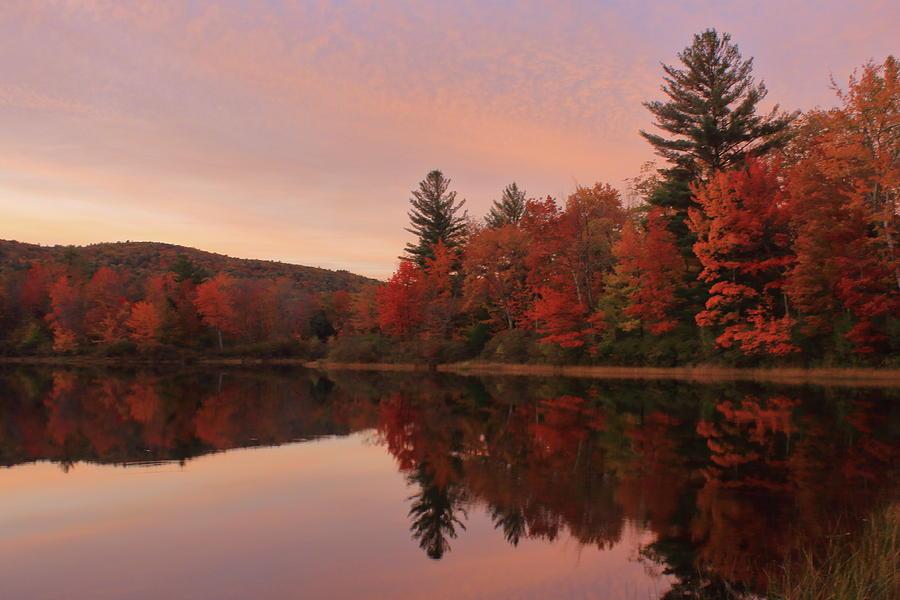 Berkshires Fall Foliage at Mauserts Pond by John Burk