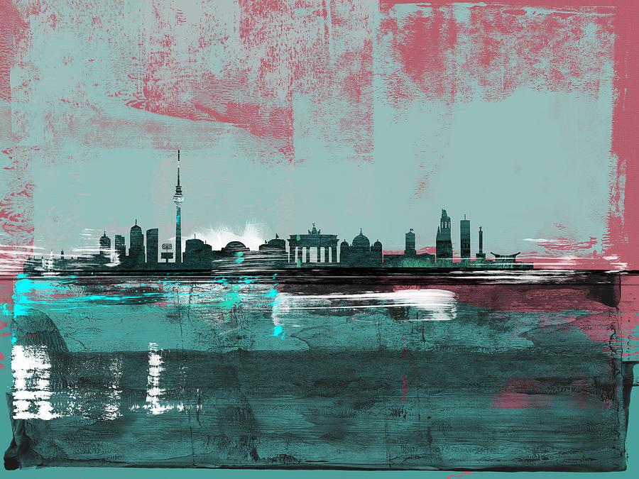Berlin Mixed Media - Berlin Abstract Skyline I by Naxart Studio