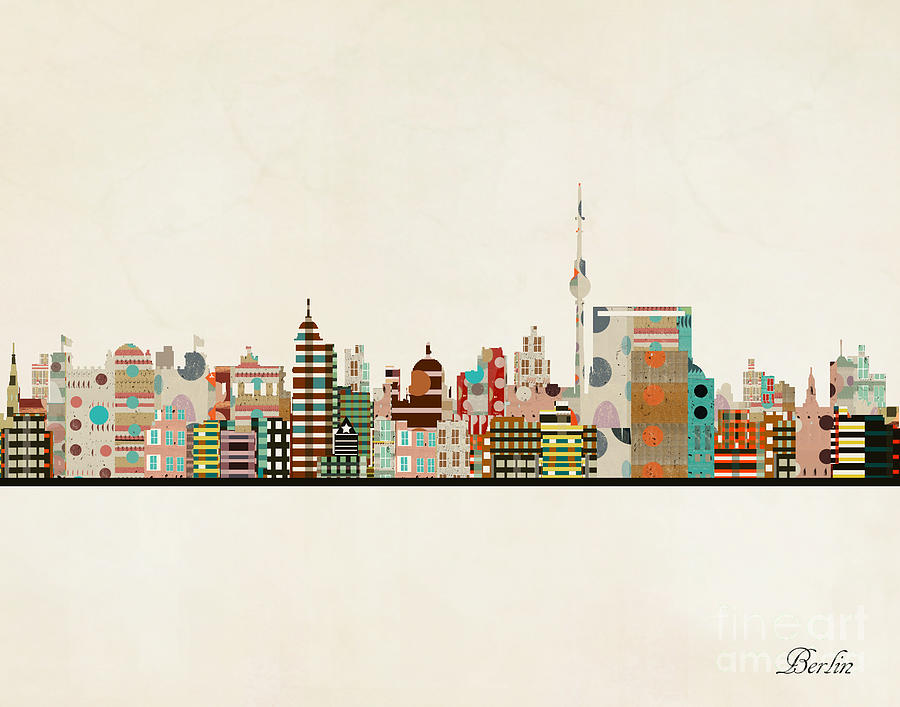 Berlin Painting - Berlin City Skyline by Bri Buckley