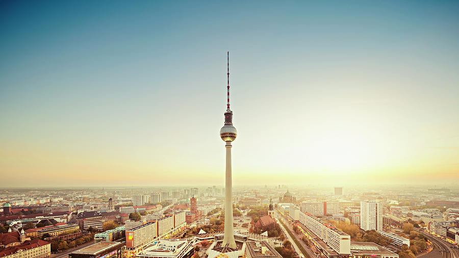 Berlin Cityscape With Fernsehturm At Photograph by Ricowde