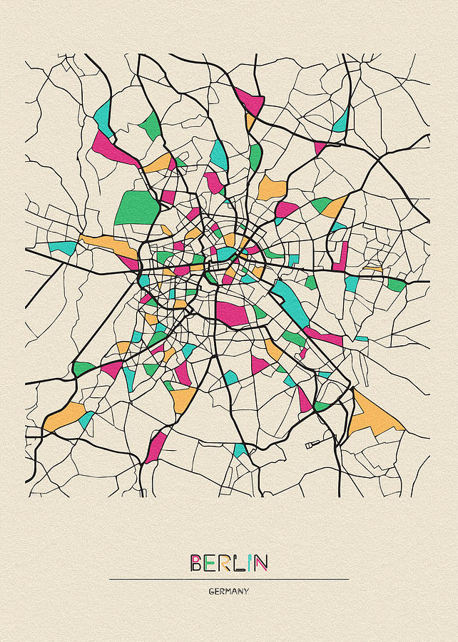 Berlin, Germany City Map by Inspirowl Design