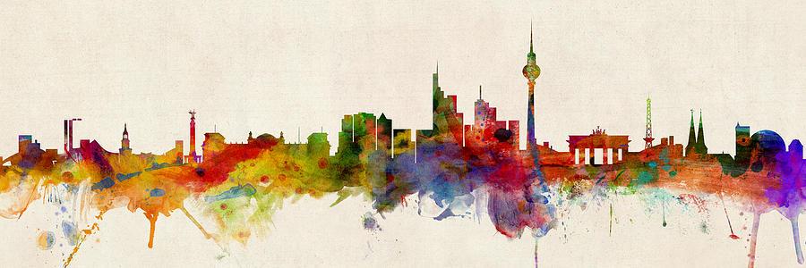 Berlin Digital Art - Berlin Germany Skyline Panoramic by Michael Tompsett