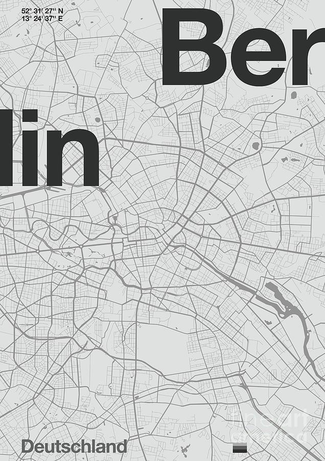 Modern Mixed Media - Berlin Minimal Map by Florent Bodart