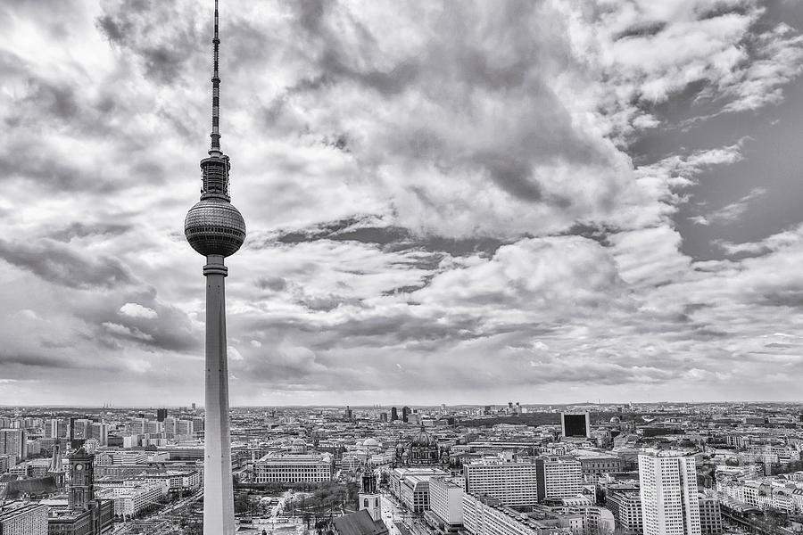 Skyline Photograph - Berlin Tv Tower And City Panorama Bw by Stefano Senise
