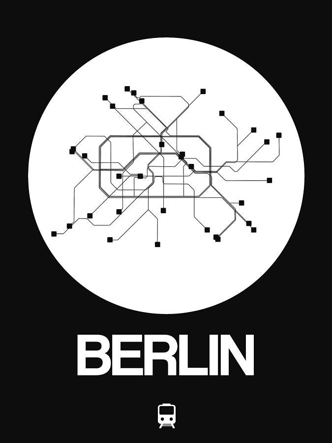 Berlin Digital Art - Berlin White Subway Map by Naxart Studio