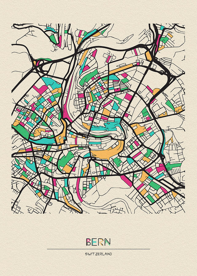 Bern, Switzerland City Map by Inspirowl Design