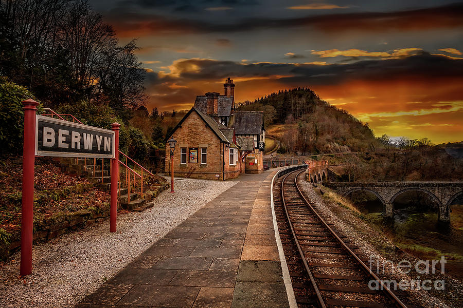 Sunset Photograph - Berwyn Railway Station Sunset by Adrian Evans