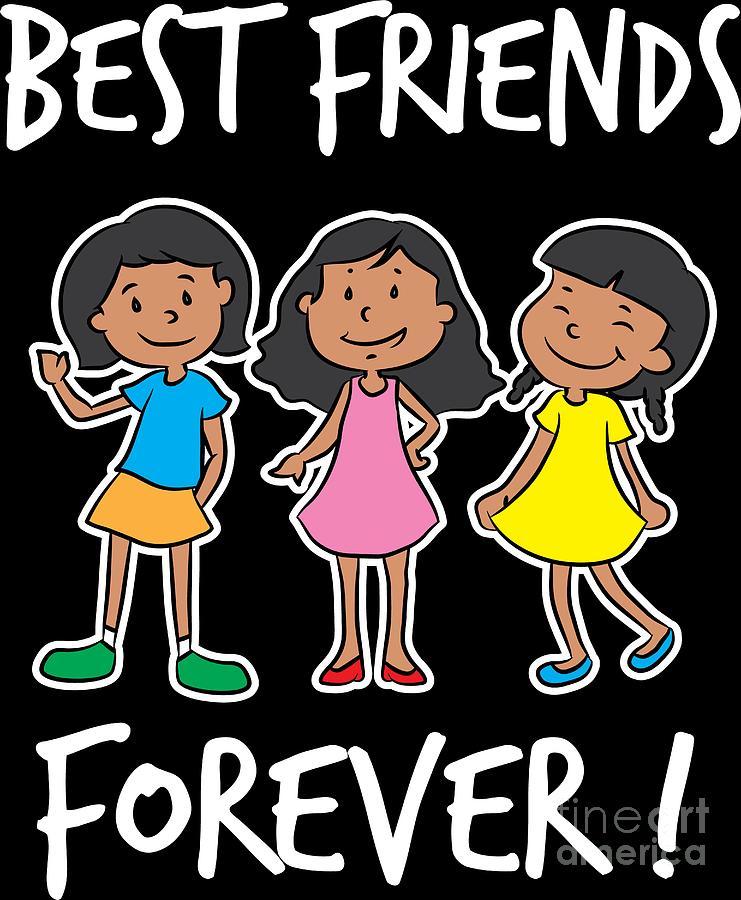Best Friends Of Three Best Friends Forever Girl Squad Gift Digital Art