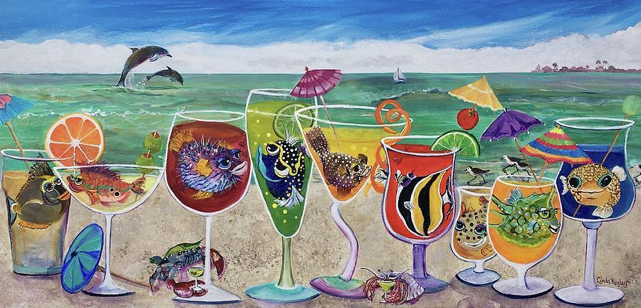 Beach Painting - Bestfins Beach Party II by Linda Kegley