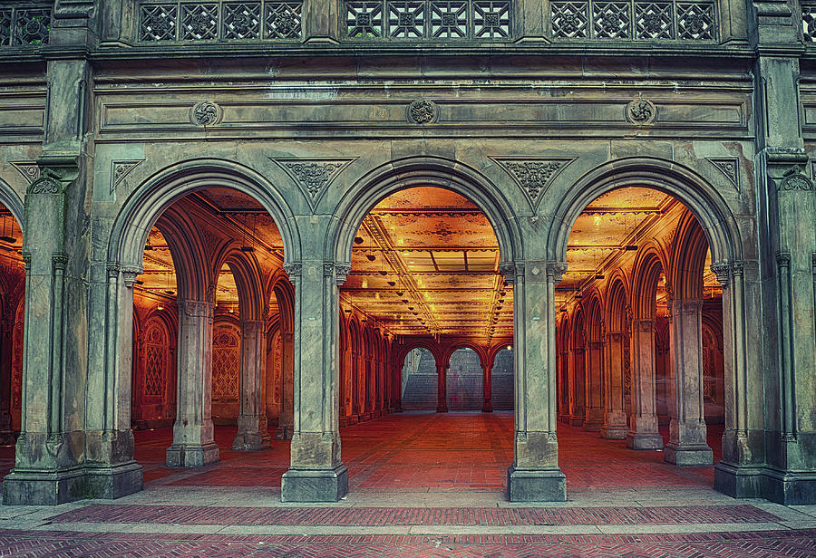 Bethesda Terrace In Central Park - Hdr Photograph by Rontech2000
