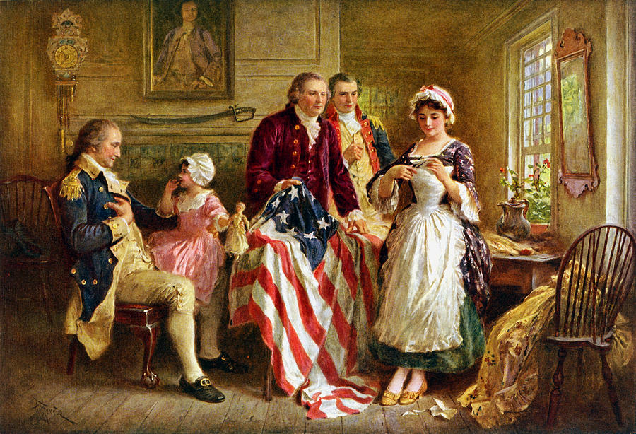 Betsy Ross And General George Washington Painting