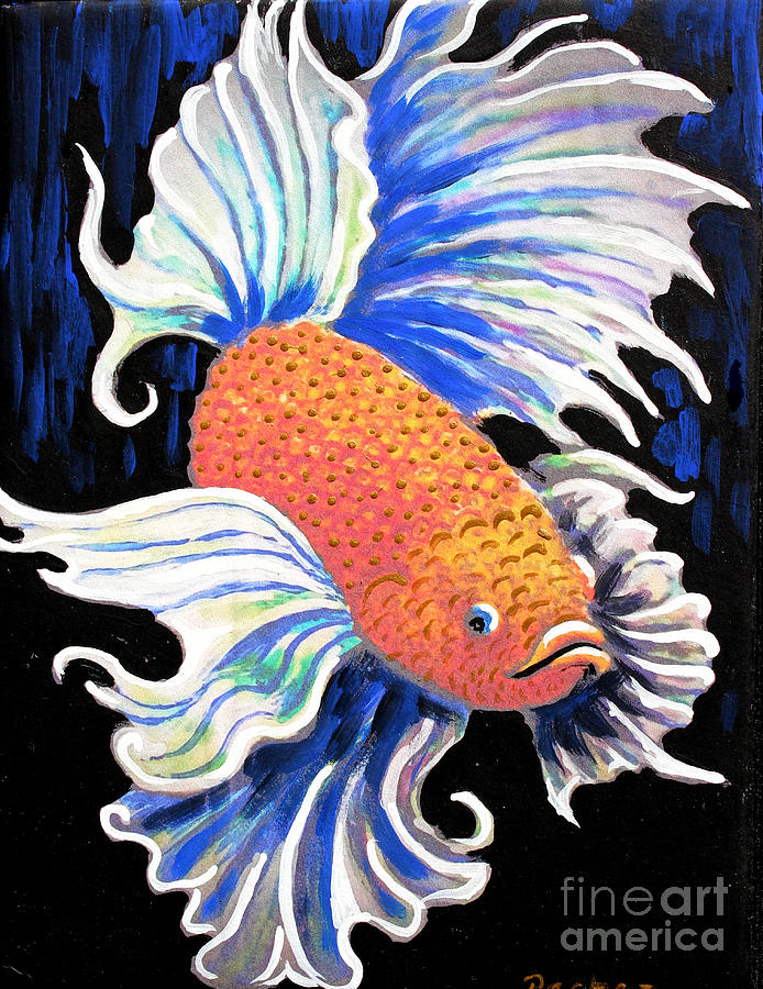 Betta fish on 6x8 tile by Pechez Sepehri