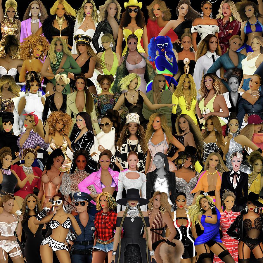 Beyonce Digital Art - Beyonce - Collage by Bo Kev