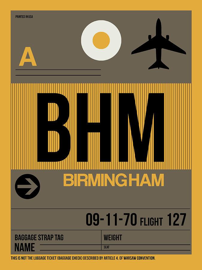 Birmingham Digital Art - Bhm Birmingham Luggage Tag I by Naxart Studio