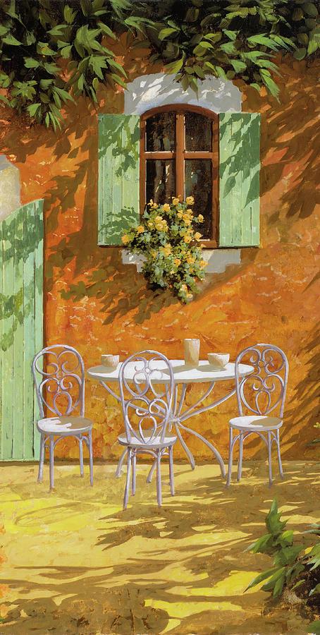 Patio Painting - Bianco Su Giallo by Guido Borelli