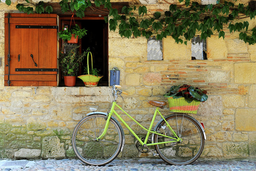 Bicycle Aginst The Wall Of A Rustic Photograph by Hans-martens