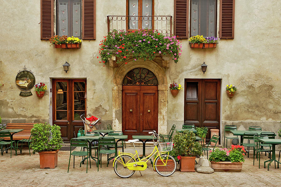 Bicycle In Front Of Small Cafe, Tuscany Photograph by Adam Jones