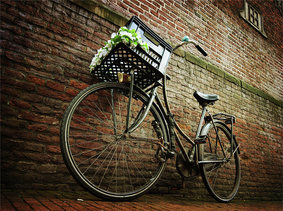 Bicycle Resting At  Brick Wall Photograph by Jordan k Photos