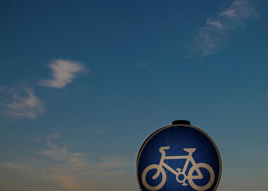 Bicycle Sign With Sky Photograph by Photography By Stuart Mackenzie (disco~stu)
