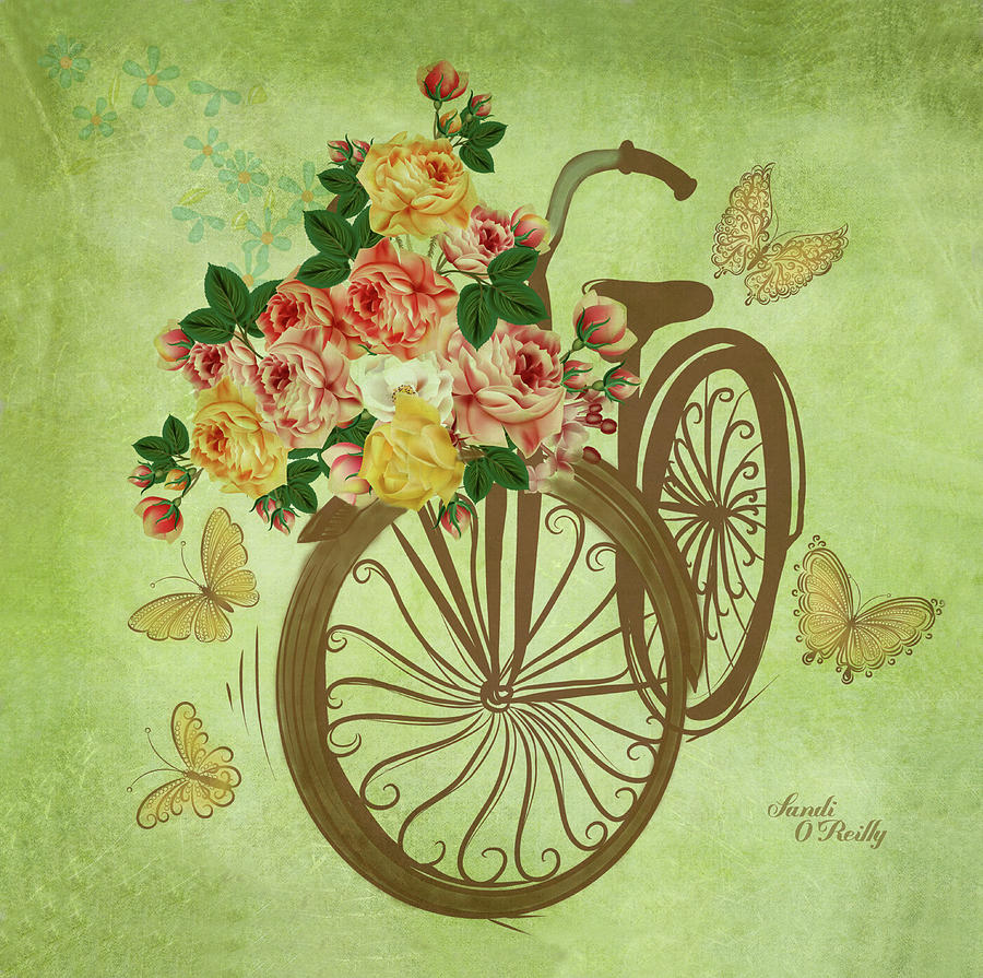Bicycle With Flower Basket by Sandi OReilly