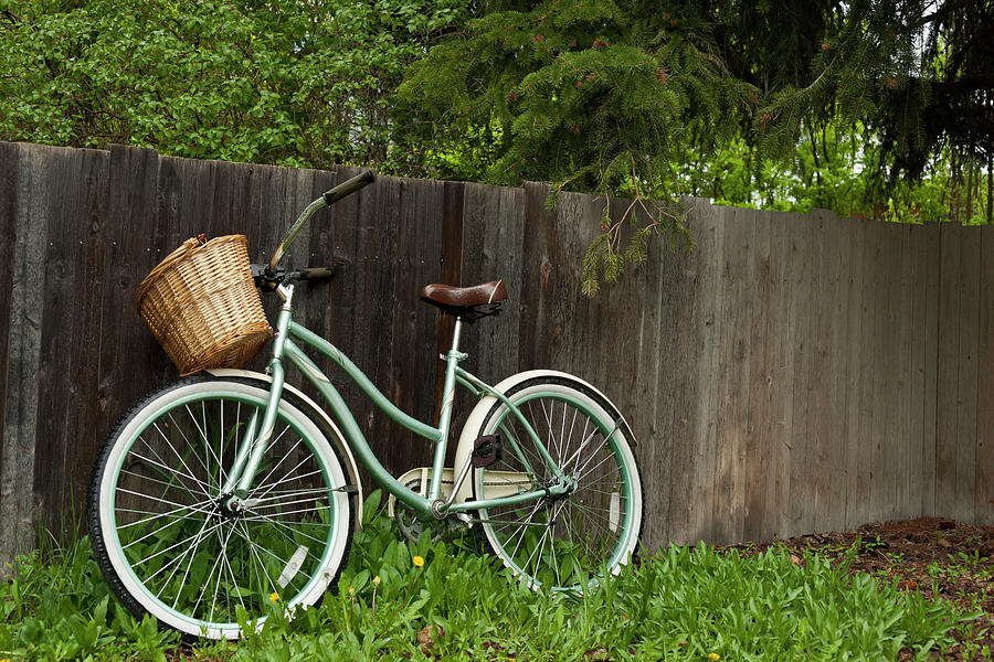 Bicycle With Wooden Fence Photograph by Jeffrey Kaphan