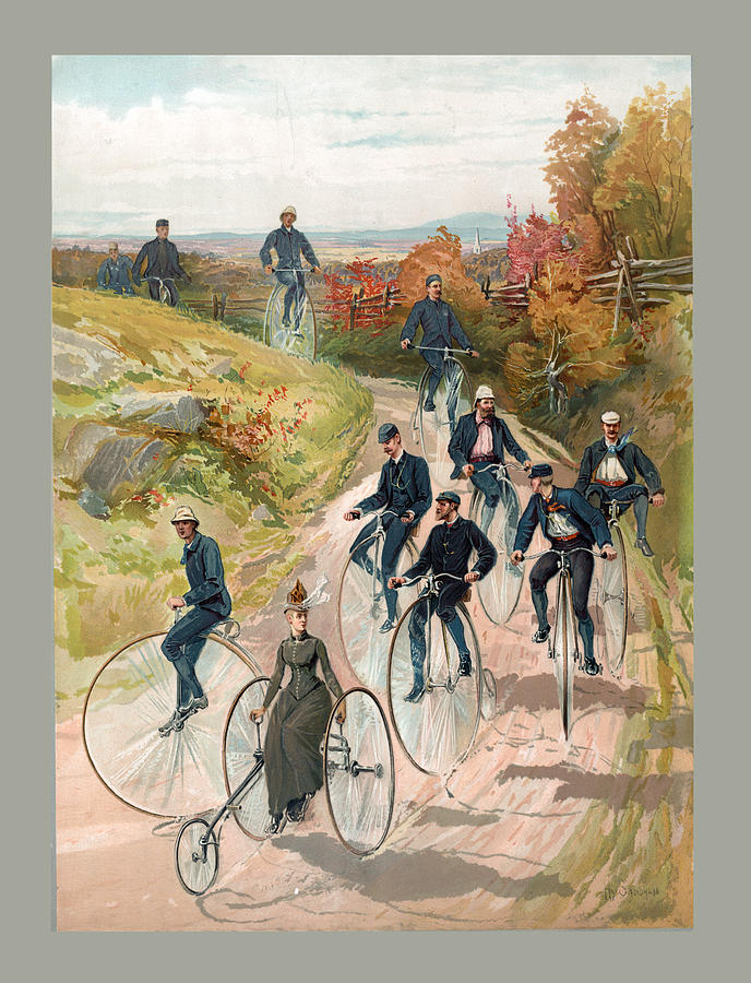 Antique Bicycling Poster by Carlos Diaz
