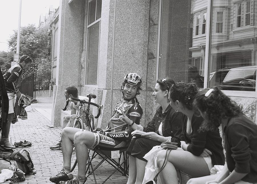 Bicyclist and Fans by FD Graham
