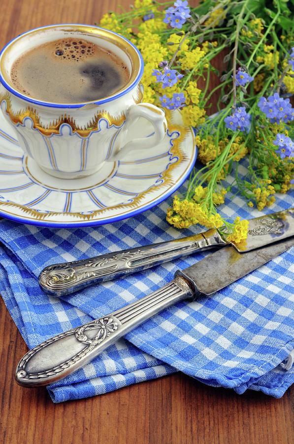 Biedermeier Porcelain Cup With Old Photograph by Hsvrs