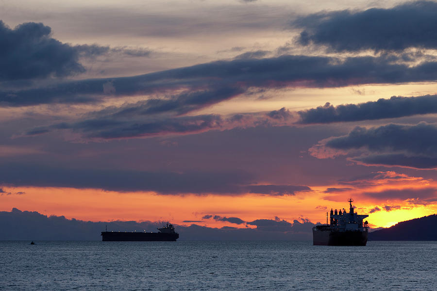 Big Boat Silhouettes Photograph by Visualcommunications