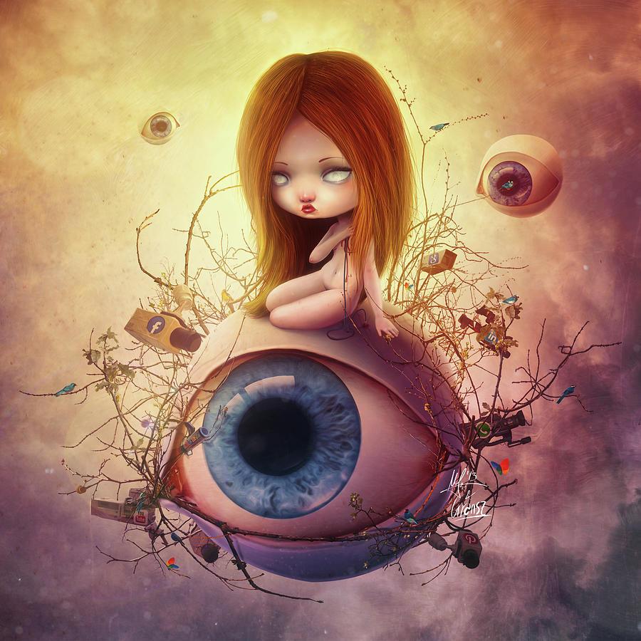Lowbrow Digital Art - Big Brother by Mario Sanchez Nevado