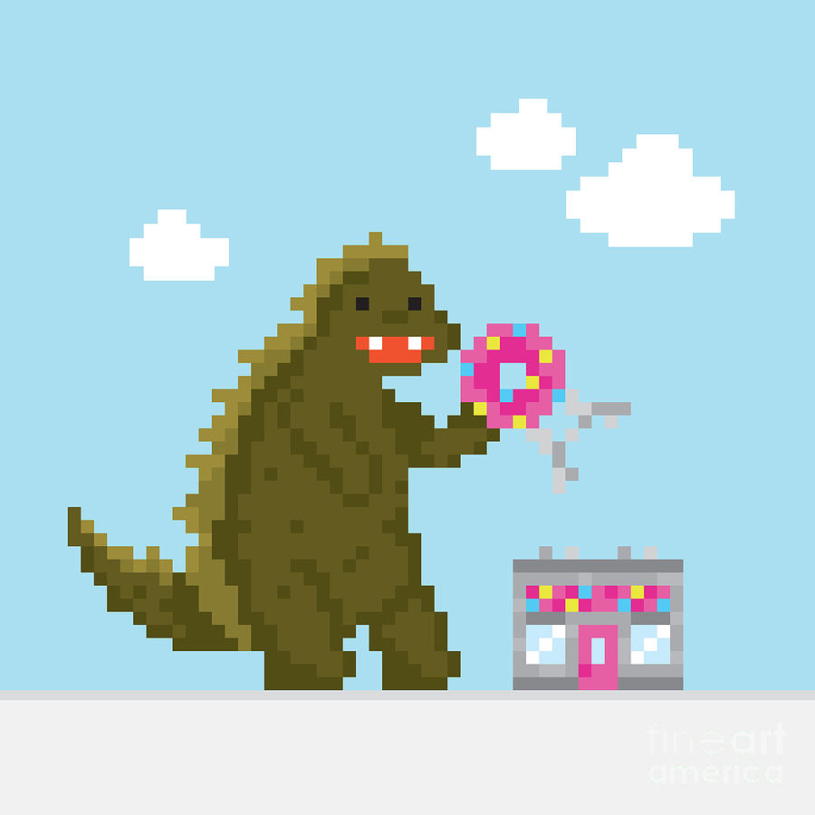 Game Digital Art - Big Dinosaur Attacking Donut Cafe by Dmitriylo