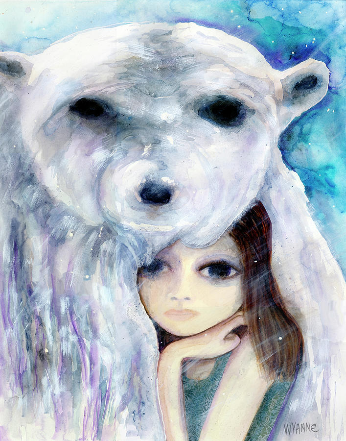 Women Painting - Big Eyed Girl Solitude by Wyanne