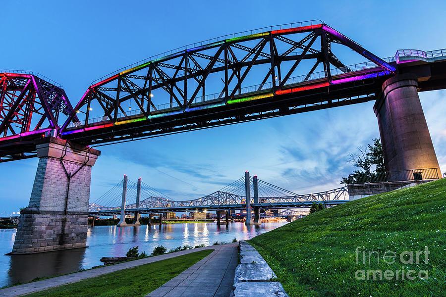 Big Four Bridge at Sunset - Jeffersonville - Indiana by Gary Whitton