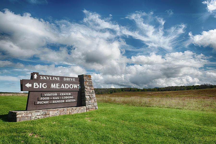 Big Meadows Skyline Drive Sign Photograph