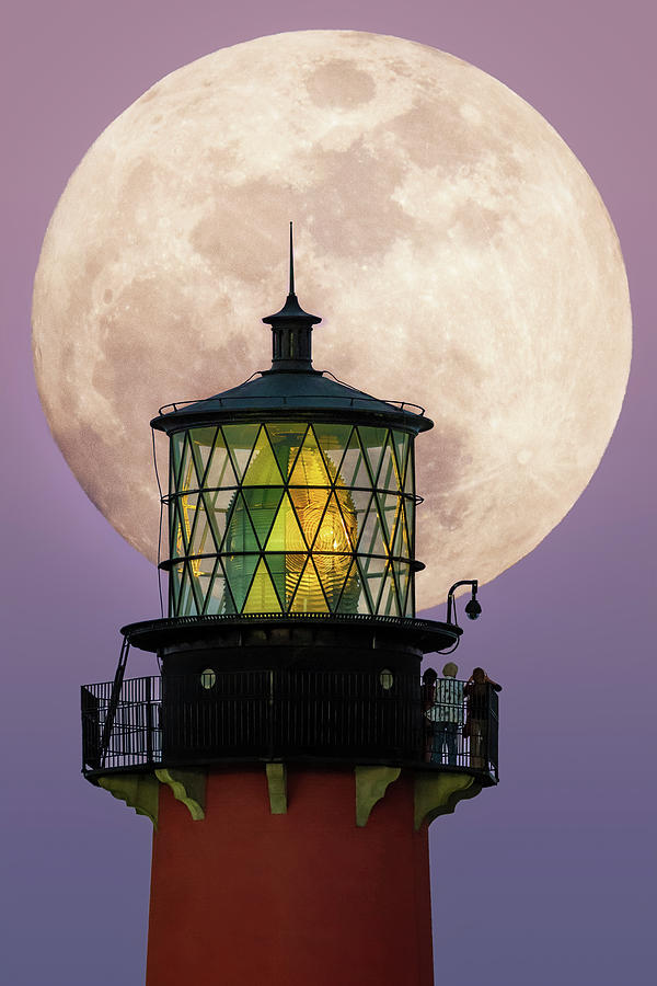 Jupiter Lighthouse Digital Art - Big Moon Rise Jupiter Lighthouse by Kim Seng