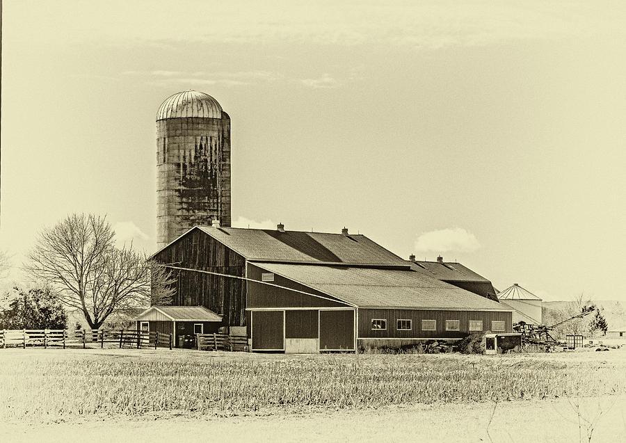 Big Red Barn 3 Sepia Photograph