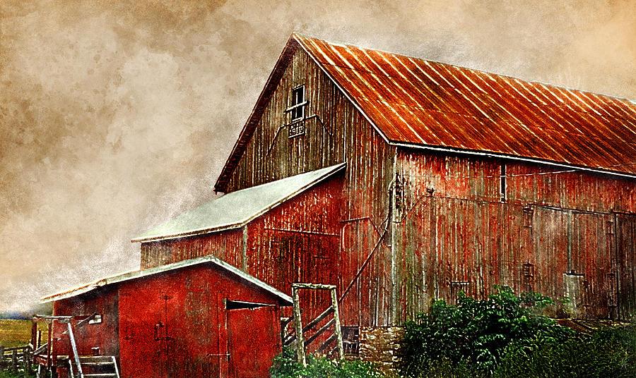 Barn Digital Art - Big Red by Carmen Hathaway
